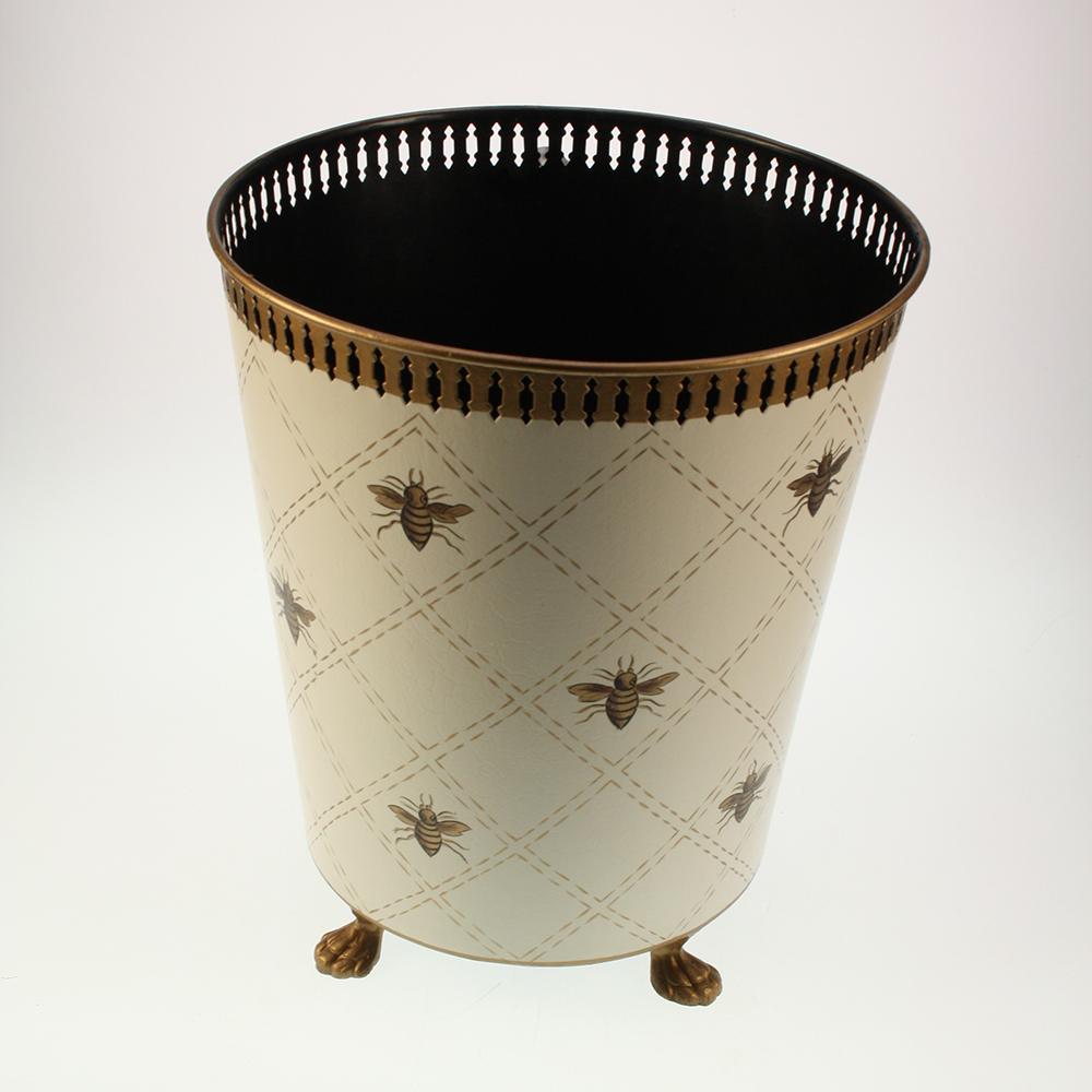 Papierkorb Creme mit Bienen